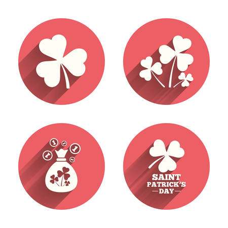 shamrock: Saint Patrick day icons. Money bag with clover and coins sign. Trefoil shamrock clover. Symbol of good luck. Pink circles flat buttons with shadow.