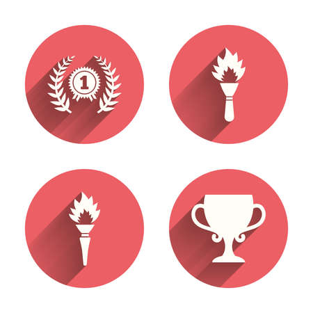 fire place: First place award cup icons. Laurel wreath sign. Torch fire flame symbol. Prize for winner. Pink circles flat buttons with shadow. Illustration