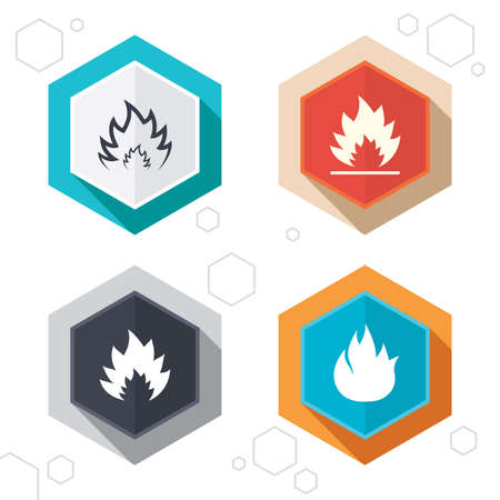 inflammable: Hexagon buttons. Fire flame icons. Heat symbols. Inflammable signs. Labels with shadow. Illustration