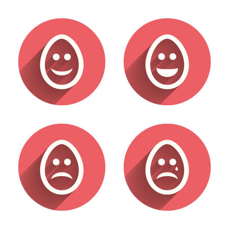 tear: Eggs happy and sad faces icons. Crying smiley with tear symbols.