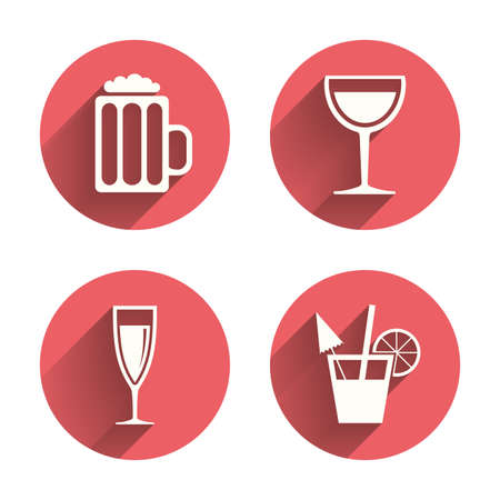 alcohol: Alcoholic drinks icons. Champagne sparkling wine and beer symbols. Wine glass and cocktail signs. Pink circles flat buttons with shadow.