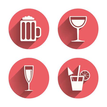 alcool: Boissons alcoolisées icônes. Champagne symboles de vin et de bière mousseux. Verre de vin et des signes de cocktail. Cercles roses boutons plats avec l'ombre. Illustration