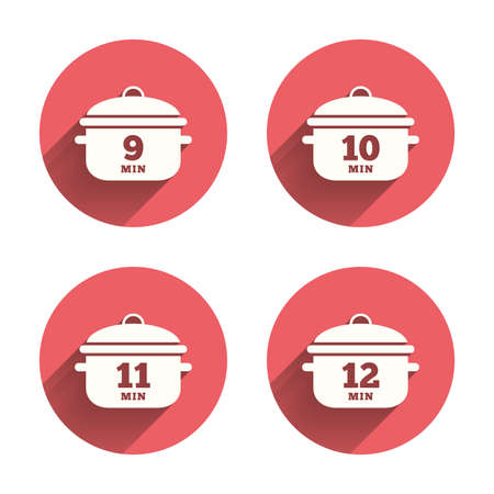 stew: Cooking pan icons. Boil 9, 10, 11 and 12 minutes signs. Stew food symbol. Pink circles flat buttons with shadow.
