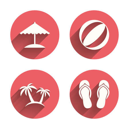flip: Beach holidays icons. Ball, umbrella and flip-flops sandals signs. Palm trees symbol. Pink circles flat buttons with shadow.