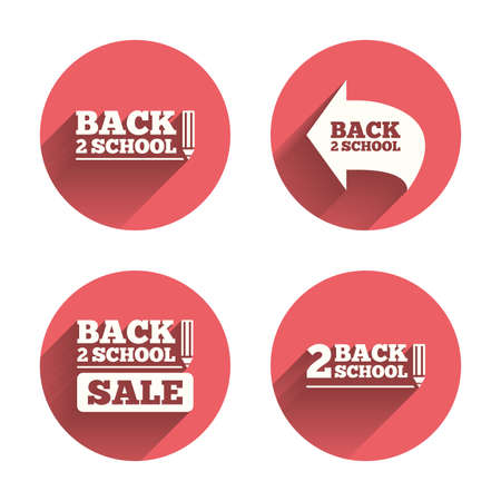 after school: Back to school sale icons. Studies after the holidays signs. Pencil symbol. Pink circles flat buttons with shadow.