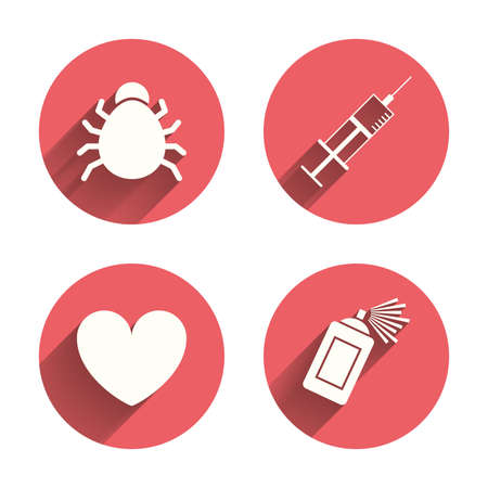 syringe injection: Bug and vaccine syringe injection icons. Heart and spray can sign symbols. Pink circles flat buttons with shadow.