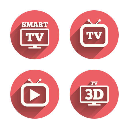 3d mode: Smart 3D TV mode icon. Widescreen symbol. Retro television and TV table signs. Pink circles flat buttons with shadow.