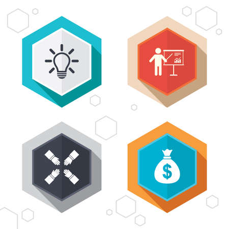 standing lamp: Hexagon buttons. Presentation billboard icon. Dollar cash money and lamp idea signs. Man standing with pointer. Teamwork symbol. Labels with shadow.