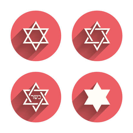 Star of David sign icons. Symbol of Israel. Pink circles flat buttons with shadow.