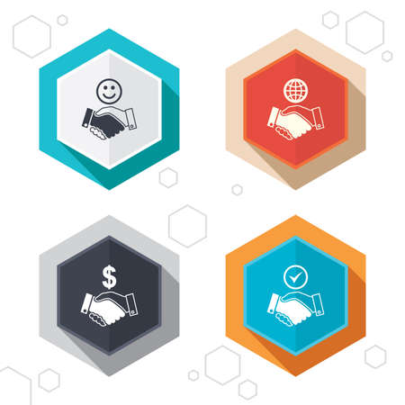 world  hexagon: Hexagon buttons. Handshake icons. World, Smile happy face and house building symbol.