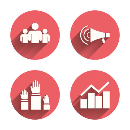 shadow people: Strike group of people icon. Megaphone loudspeaker sign. Election or voting symbol. Hands raised up. Pink circles flat buttons with shadow.