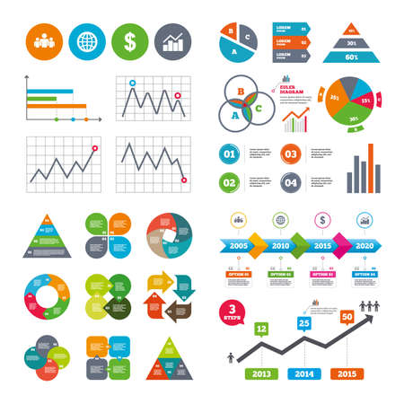 friend chart: Business data pie charts graphs. Business icons.
