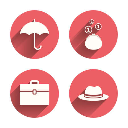 diplomat: Clothing accessories icons. Umbrella and headdress hat signs. Wallet with cash coins, business case symbols. Pink circles flat buttons with shadow.