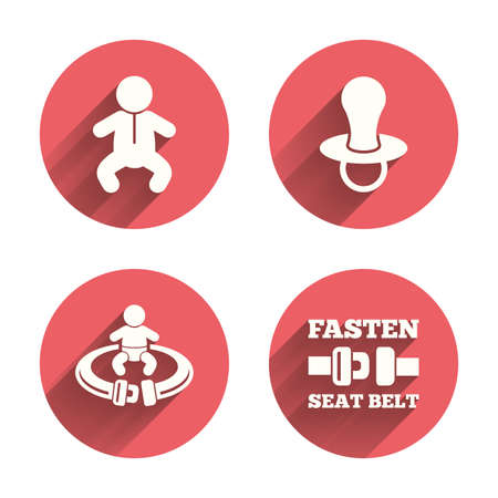 baby toilet seat: Baby infants icons. Toddler boy with diapers symbol. Fasten seat belt signs. Child pacifier and pram stroller. Pink circles flat buttons with shadow. Illustration