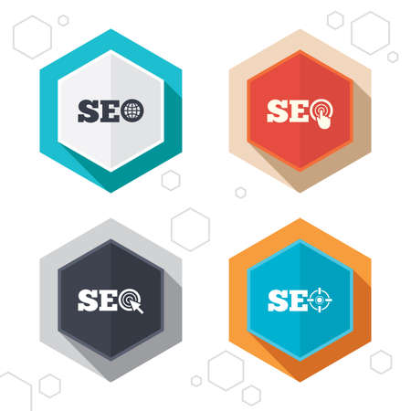 world  hexagon: Hexagon buttons. SEO icons. Search Engine Optimization symbols. World globe and mouse or hand cursor pointer signs. Labels with shadow.