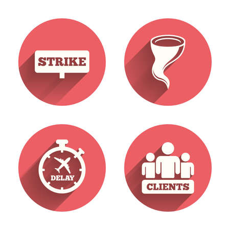 delayed: Strike icon. Storm bad weather and group of people signs. Delayed flight symbol. Pink circles flat buttons with shadow.