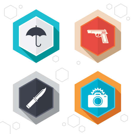 edged: Hexagon buttons. Gun weapon icon. Knife, umbrella and photo camera with flash signs. Edged hunting equipment. Prohibition objects. Labels with shadow.