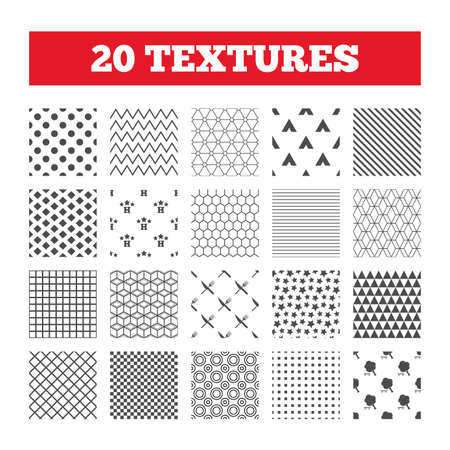 break down: Seamless patterns. Endless textures. Food, hotel, camping tent and tree icons. Knife and fork. Break down tree. Road signs. Geometric tiles, rhombus. Vector Illustration