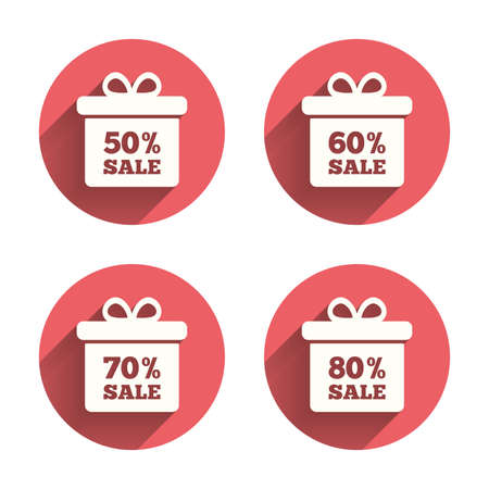 60 70: Sale gift box tag icons. Discount special offer symbols. 50%, 60%, 70% and 80% percent sale signs. Pink circles flat buttons with shadow. Vector