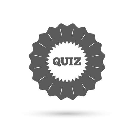 kwis: Vintage emblem medal. Quiz star sign icon. Questions and answers game symbol. Classic flat icon. Vector