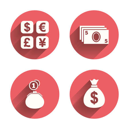 withdrawals: Currency exchange icon. Cash money bag and wallet with coins signs. Dollar, euro, pound, yen symbols. Pink circles flat buttons with shadow. Vector