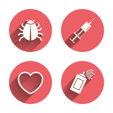 syringe inoculation: Bug and vaccine syringe injection icons. Heart and spray can sign symbols. Pink circles flat buttons with shadow. Vector Illustration