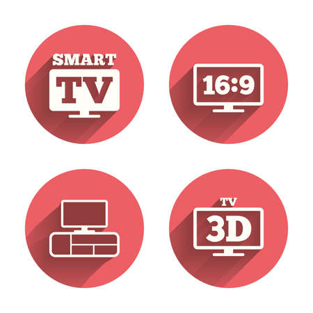 aspect: Smart TV mode icon. Aspect ratio 16:9 widescreen symbol. 3D Television and TV table signs. Pink circles flat buttons with shadow. Vector Illustration