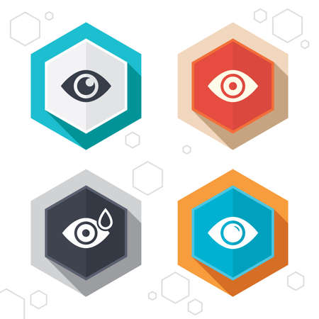 eye drops: Hexagon buttons. Eye icons. Water drops in the eye symbols. Red eye effect signs. Labels with shadow. Vector