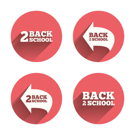 vector studies: Back to school icons. Studies after the holidays signs symbols. Pink circles flat buttons with shadow. Vector