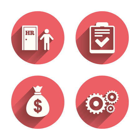 Human resources icons. Checklist document sign. Money bag and gear symbols. Man at the door. Pink circles flat buttons with shadow. Vector Illustration