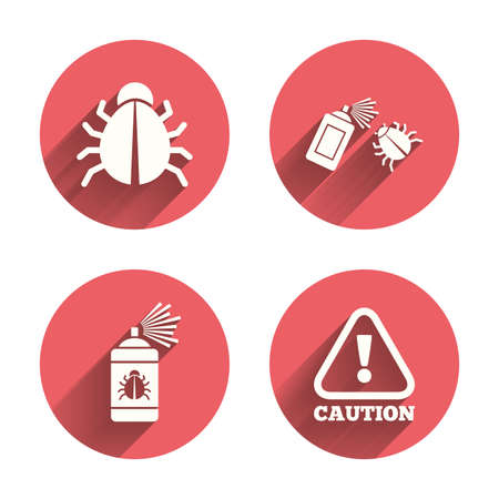 Bug disinfection icons. Caution attention symbol. Insect fumigation spray sign. Pink circles flat buttons with shadow. Vector