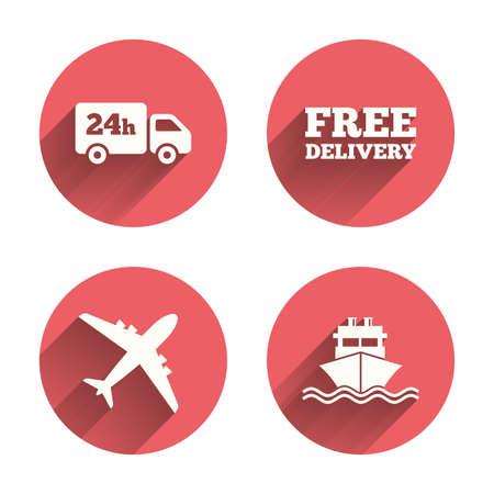 화물 트럭 및 배송 아이콘. 배송 및 무료 배달 표지판입니다. 운송 기호. 24 시간 서비스를 제공합니다. 핑크 원 그림자와 평평한 버튼. 벡터 일러스트
