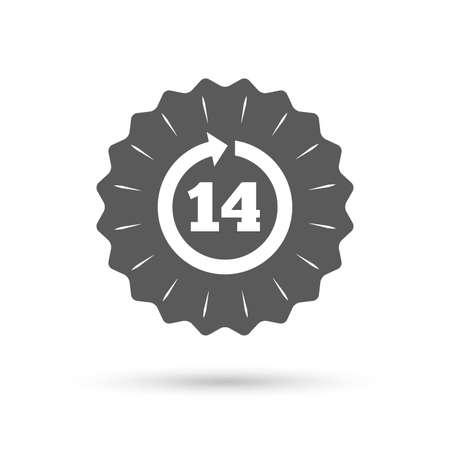 14: Vintage emblem medal. Return of goods within 14 days sign icon. Warranty exchange symbol. Classic flat icon. Vector Illustration