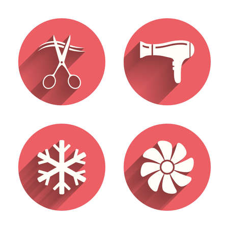blow drying: Hotel services icons. Air conditioning, Hairdryer and Ventilation in room signs. Climate control. Hairdresser or barbershop symbol. Pink circles flat buttons with shadow. Vector Illustration