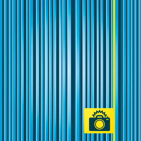 yellow photo: Lines blue background. Photo camera sign icon. Photo flash symbol. Yellow tag label. Vector