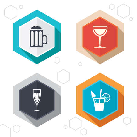 alcoholic drinks: Hexagon buttons. Alcoholic drinks icons. Champagne sparkling wine with bubbles and beer symbols. Wine glass and cocktail signs. Labels with shadow. Vector