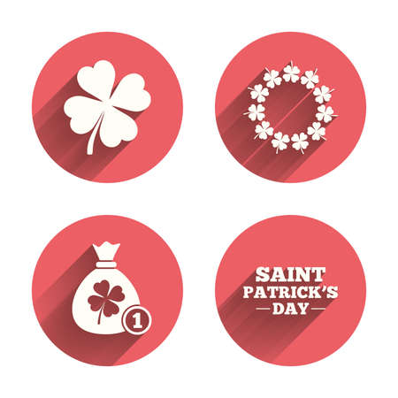 clover buttons: Saint Patrick day icons. Money bag with coin and clover sign. Wreath of quatrefoil clovers. Symbol of good luck. Pink circles flat buttons with shadow. Vector