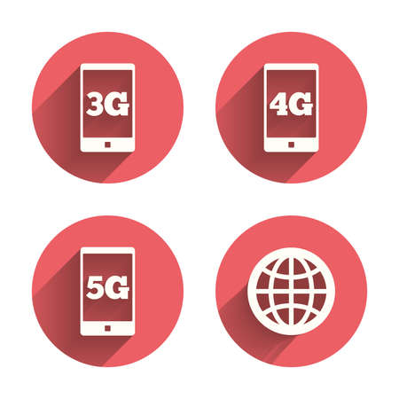 3g: Mobile telecommunications icons. 3G, 4G and 5G technology symbols. World globe sign. Pink circles flat buttons with shadow. Vector