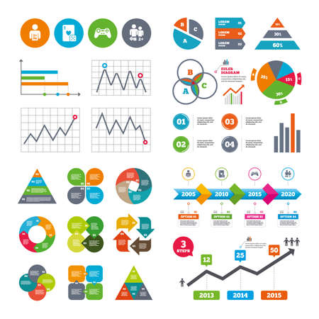 friend chart: Business data pie charts graphs. Gamer icons. Board games players signs. Video game joystick symbol. Casino playing card. Market report presentation. Vector Illustration