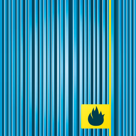 fire escape: Lines blue background. Fire flame sign icon. Fire symbol. Stop fire. Escape from fire. Yellow tag label. Vector
