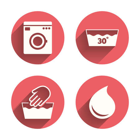 washable: Hand wash icon. Machine washable at 30 degrees symbols. Laundry washhouse and water drop signs. Pink circles flat buttons with shadow. Vector Illustration