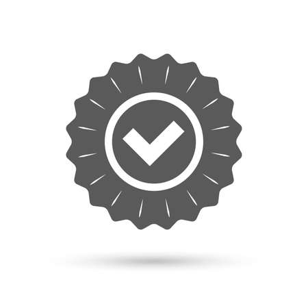 confirm: Vintage emblem medal. Check mark sign icon. Yes circle symbol. Confirm approved. Classic flat icon. Vector Illustration