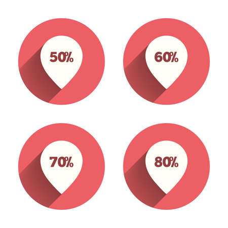 50 to 60: Sale pointer tag icons. Discount special offer symbols. 50%, 60%, 70% and 80% percent discount signs. Pink circles flat buttons with shadow. Vector Illustration