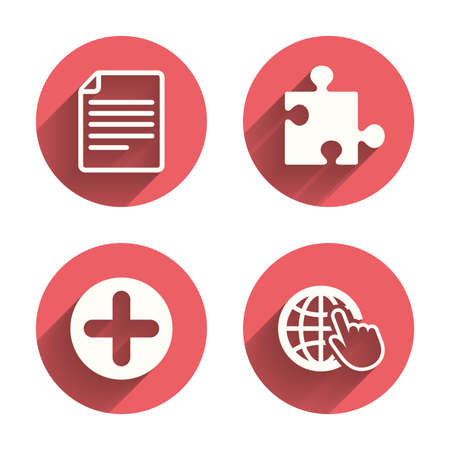 puzzle corners: Plus add circle and puzzle piece icons. Document file and globe with hand pointer sign symbols. Pink circles flat buttons with shadow. Vector