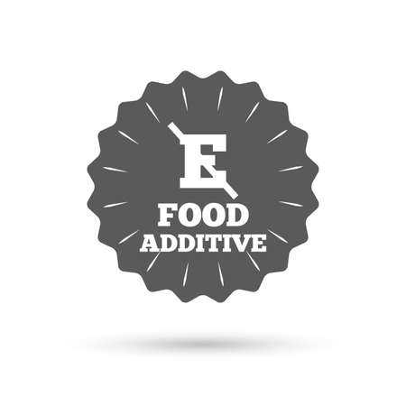 stabilizers: Vintage emblem medal. Food additive sign icon. Without E symbol. Healthy natural food. Classic flat icon. Vector Illustration