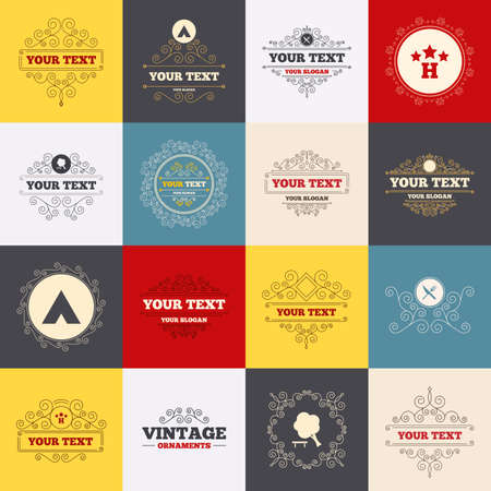 fork road: Vintage frames, labels. Food, hotel, camping tent and tree icons. Knife and fork. Break down tree. Road signs. Scroll elements. Vector