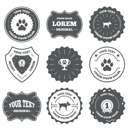 clutches: Vintage emblems, labels. Pets icons. Cat paw with clutches sign. Winner cup and medal symbol. Dog silhouette. Design elements. Vector Illustration