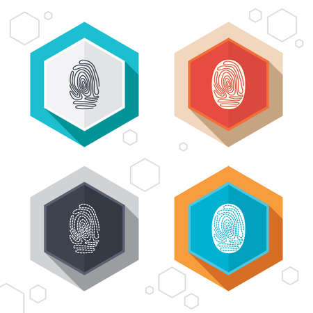 dabs: Hexagon buttons. Fingerprint icons. Identification or authentication symbols. Biometric human dabs signs. Labels with shadow. Vector Illustration