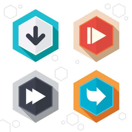 arrowhead: Hexagon buttons. Arrow icons. Next navigation arrowhead signs. Direction symbols. Labels with shadow. Vector