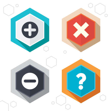 no edges: Hexagon buttons. Plus and minus icons. Delete and question FAQ mark signs. Enlarge zoom symbol. Labels with shadow. Vector